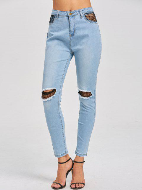 Fishnet Insert High Waist Distressed Jeans - LIGHT BLUE S