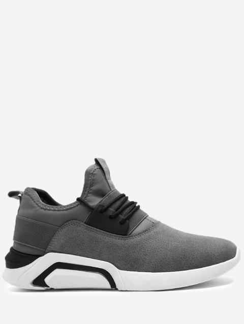 Elastic Band Color Block Suede Athletic Shoes - GRAY 42