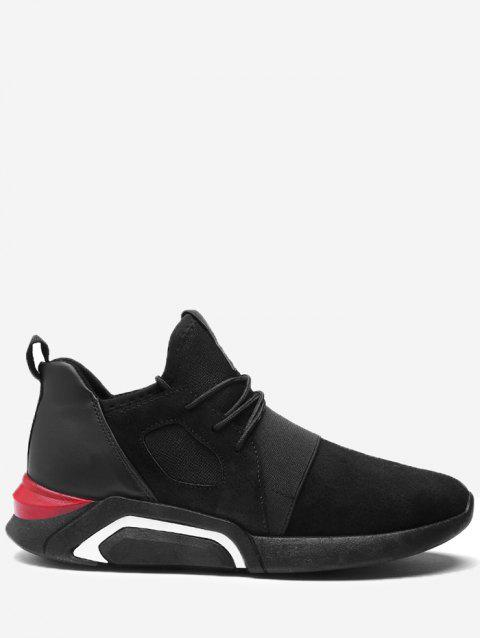 Breathable Faux Suede Color Block Athletic Shoes - FULL BLACK 44