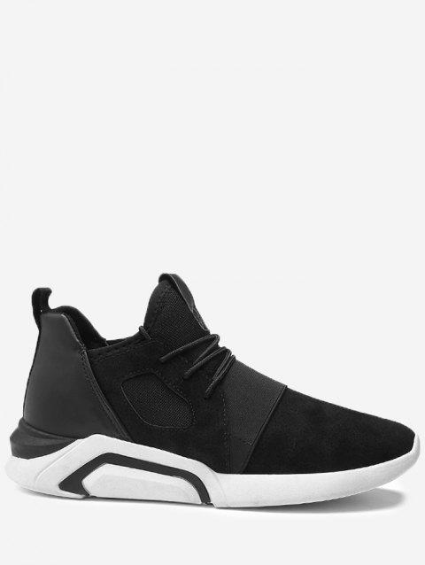 Breathable Faux Suede Color Block Athletic Shoes - BLACK WHITE 41