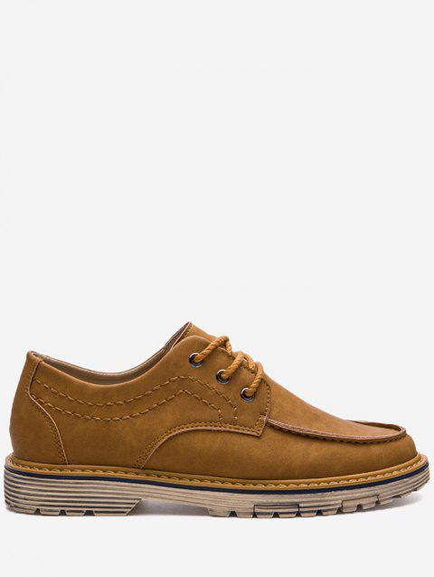 Low Heel Stitching Casual Shoes - BROWN 43