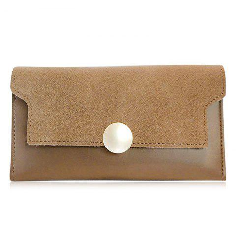 PU Leather Clutch Wallet - BROWN