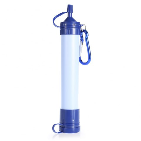 Outdoor Portable Water Straw Filter Purification Pump with Hanging Buckle - BLUE 21 X 4 X 3.5CM