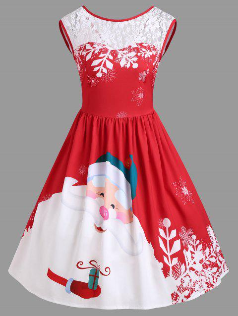ad12427d39 60% OFF  2019 Christmas Lace Insert Santa Claus Print Party Dress In ...