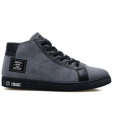 Round Toe Graphic Patched High Top Sneakers - GRAY 39