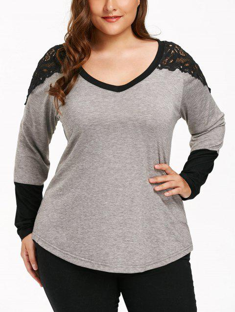 Long Sleeve Lace Panel Plus Size T-shirt - GRAY 3XL