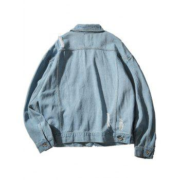 Chest Pocket Button Up Destroyed Denim Jacket - LIGHT BLUE M