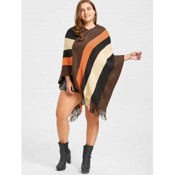 Striped Plus Size Fringe Cape Sweater - COFFEE ONE SIZE