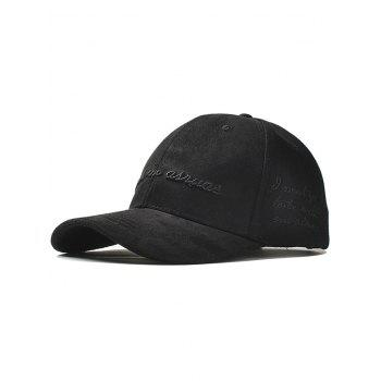 Outdoor Letter Embroidery Faux Suede Graphic Hat - BLACK BLACK