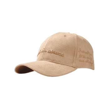 Outdoor Letter Embroidery Faux Suede Graphic Hat - KHAKI