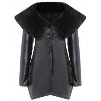 Faux Fur Collar PU Leather Asymmetric Coat - BLACK 2XL