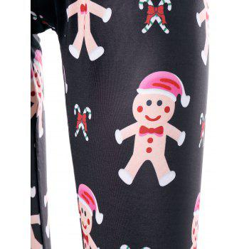 Christmas Gingerbread Man Print Leggings - BLACK 2XL