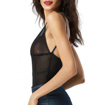 Low Cut Backless See Through Teddy - BLACK S