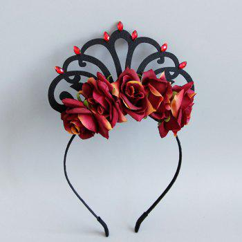 Vintage Faux Ruby Crown Flower Hairband - BRICK RED