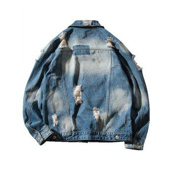 Double Chest Pocket Extremely Ripped Denim Jacket - BLUE 4XL