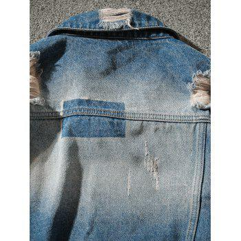Double Chest Pocket Extremely Ripped Denim Jacket - BLUE 2XL