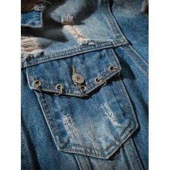 Double Chest Pocket Extremely Ripped Denim Jacket - BLUE XL