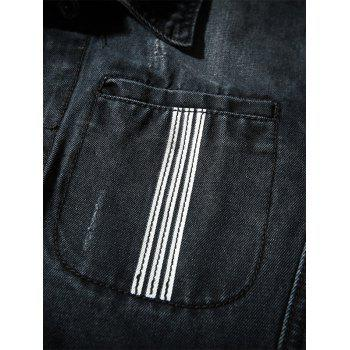 Button Up Striped Detail Pocket Denim Jacket - BLACK L
