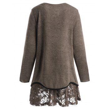 Plus Size Star Lace Overlay Knitwear - DARK CAMEL 5XL