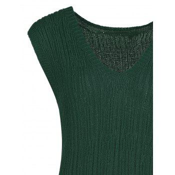 Plus Size Ribbed Drop Waist Sleeveless Sweater - ARMY GREEN 5XL