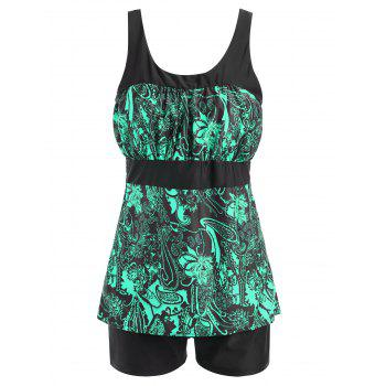Floral Print Padded Plus Size Tankini Set - GREEN GREEN