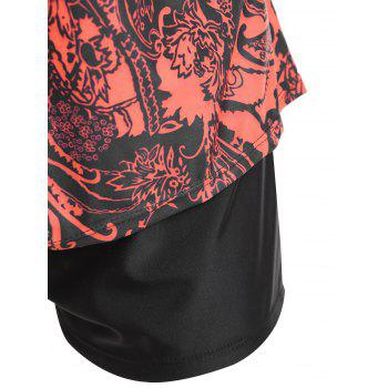Floral Print Padded Plus Size Tankini Set - RED RED