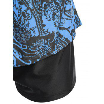 Floral Print Padded Plus Size Tankini Set - BLUE 3XL