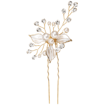 Fausse perle strass feuille mariage épingle - Or