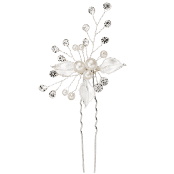 Fausse perle strass feuille mariage épingle - Argent