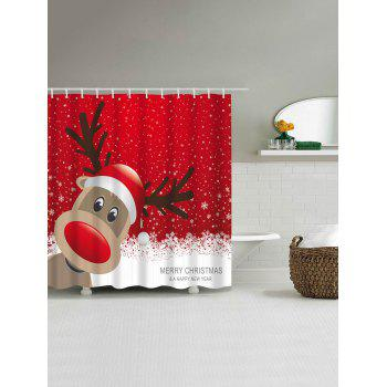 Christmas Elk Fabric Waterproof Bath Shower Curtain - RED XL