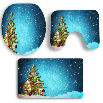 Snowy Christmas Tree Patterned 3Pcs Toilet Bath Mat Set - COLORFUL