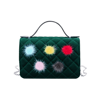 Quilted Pompom Chain Crossbody Bag - GREEN