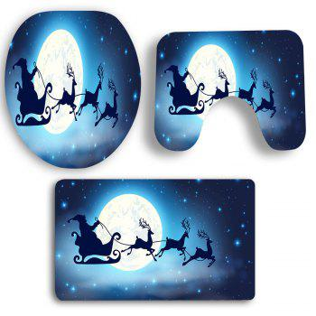 Moon Santa Claus Sled Patterned 3Pcs Bath Toilet Mat Set - ROYAL