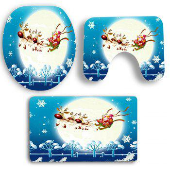 Moon Santa Elk Sled Printed 3Pcs Toilet Mat Set - BLUE/WHITE
