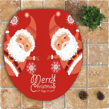 Santa Claus Printed 3Pcs Toilet Bath Mat Set - RED/WHITE