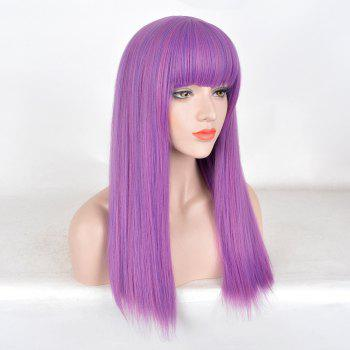Long Neat Bang Straight Colormix Descendants 2 Mal Cosplay Wig - PURPLE