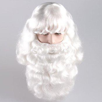 Long Side Bang Fluffy Curly Cosplay Santa Claus Wig With Beard - WHITE WHITE