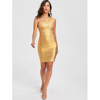Metallic One Shoulder Bandage Dress - GOLDEN L