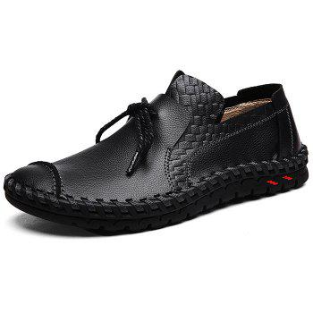 Moccasin Toe Tie Front Artificial Leather Slip On Shoes - BLACK 39