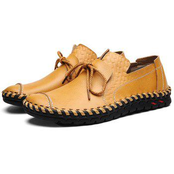 Moccasin Toe Tie Front Artificial Leather Slip On Shoes - CITRUS 39