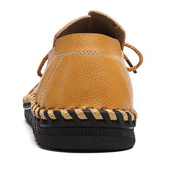 Moccasin Toe Tie Front Artificial Leather Slip On Shoes - CITRUS 44