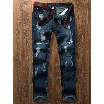 Bleached Graphic Print Ripped Jeans - DENIM BLUE 34
