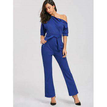 Convertible Collar Belted Jumpsuit - BLUE BLUE