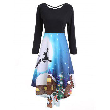 Christmas Long Sleeve Print Flare Dress