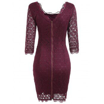 Cut Out Lace Bodycon Party Dress - WINE RED M
