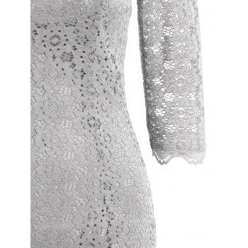 Cut Out Lace Bodycon Party Dress - LIGHT GRAY M