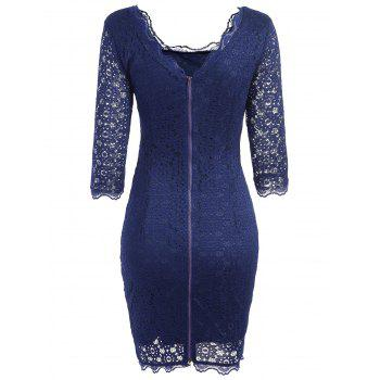 Cut Out Lace Bodycon Party Dress - PURPLISH BLUE M