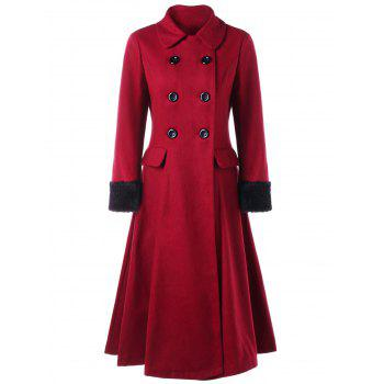 Double Breasted Lace Up Capelet Coat - WINE RED M