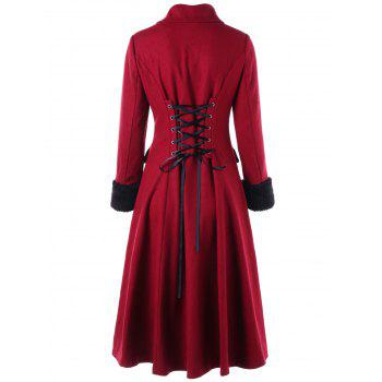 Double Breasted Lace Up Capelet Coat - WINE RED 2XL