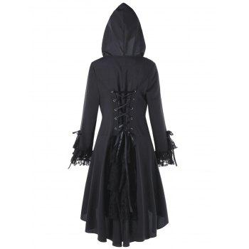 Plus Size Lace Panel Lace Up High Low Hooded Coat